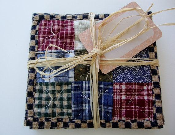 QUILTED COASTERS- Fabric Coasters - Primitive Hand Quilted Coaster Set by purelysimpledesigns on Etsy