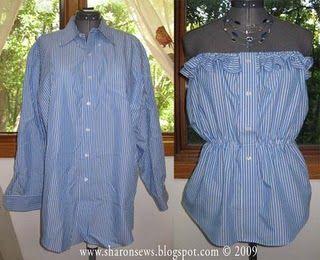Men's shirt refashionDress Shirts, Ruffles Strapless, Diy Crafts, Dresses Shirts, Men Shirts, Sewing Diy, Old Shirts, Diy Projects, Summer Tops