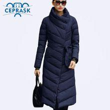 Ceprask 2016 High Quality women's winter Down jacket Plus Size X-Long female coats Slim Belt Fashion Warm Parka camperas casaco(China)