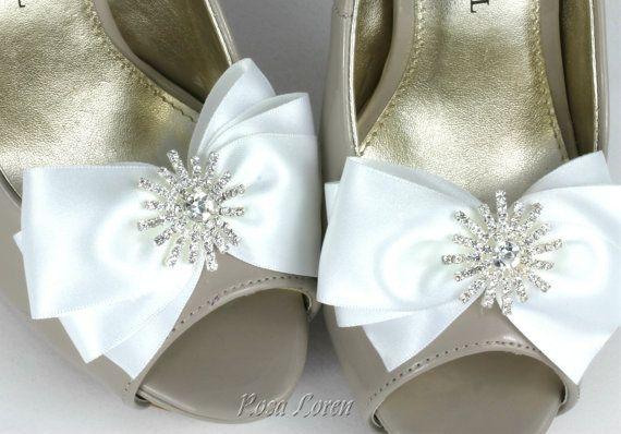 $15 White Satin Shoe Clips, White Bow Shoe Clip, Bling Wedding Accessories Shoes Clip, Wedding Shoe Clips