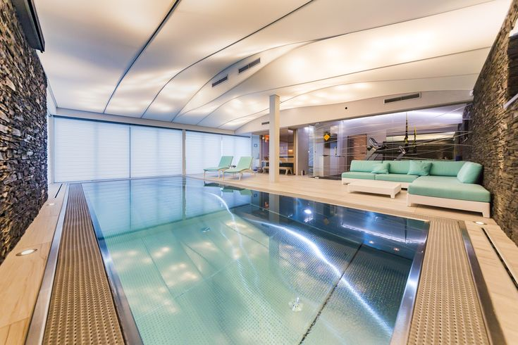 Luxurious stainless steel pool in private wellness