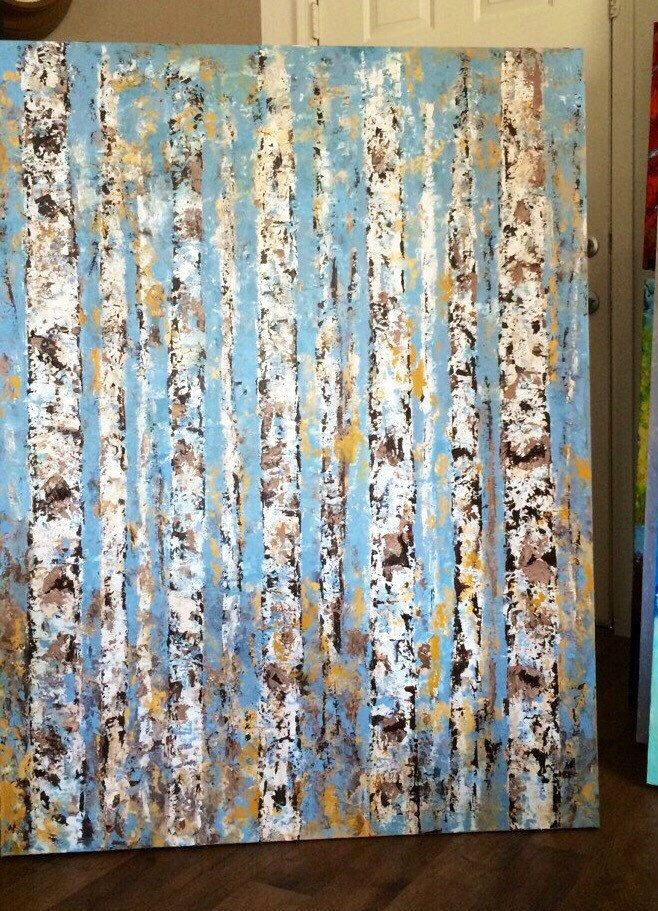 Aspen Birch blue grey Trees Abstract Custom Order Aspen/Birch Trees. 36 Wide x 48 High Canvas Original Acrylic Painting or any size/color. by VickisArt on Etsy https://www.etsy.com/listing/573440287/aspen-birch-blue-grey-trees-abstract