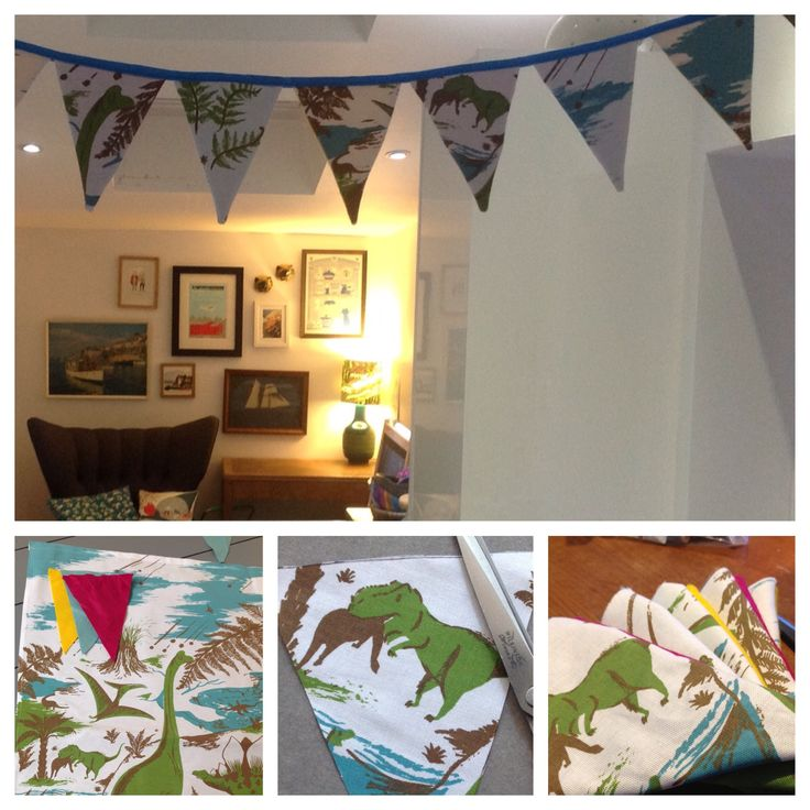 Dinosaur bunting made from our Drynosaurs tea towel, designed by Nicholas John Frith for ToDryFor... http://todryfor.com/products/drynosaurs-tea-towel