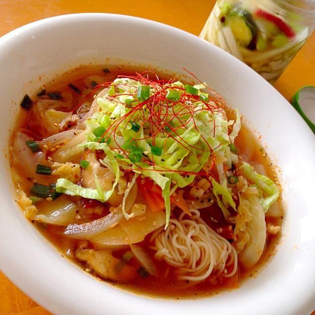 今日のお昼 - 74件のもぐもぐ - 野菜たっぷりエスニックスープでフォー風そうめん by fighterscurry