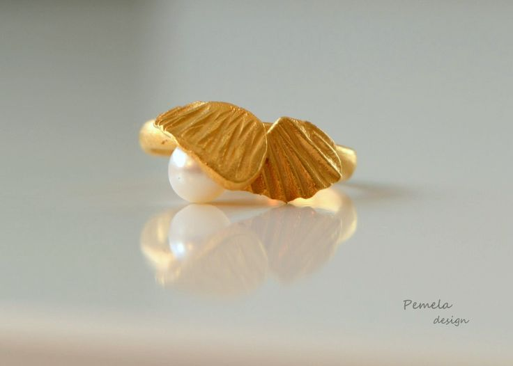 https://flic.kr/p/D2Nbgb | Pearl ring, gold plated sterling silver #pemeladesign.com