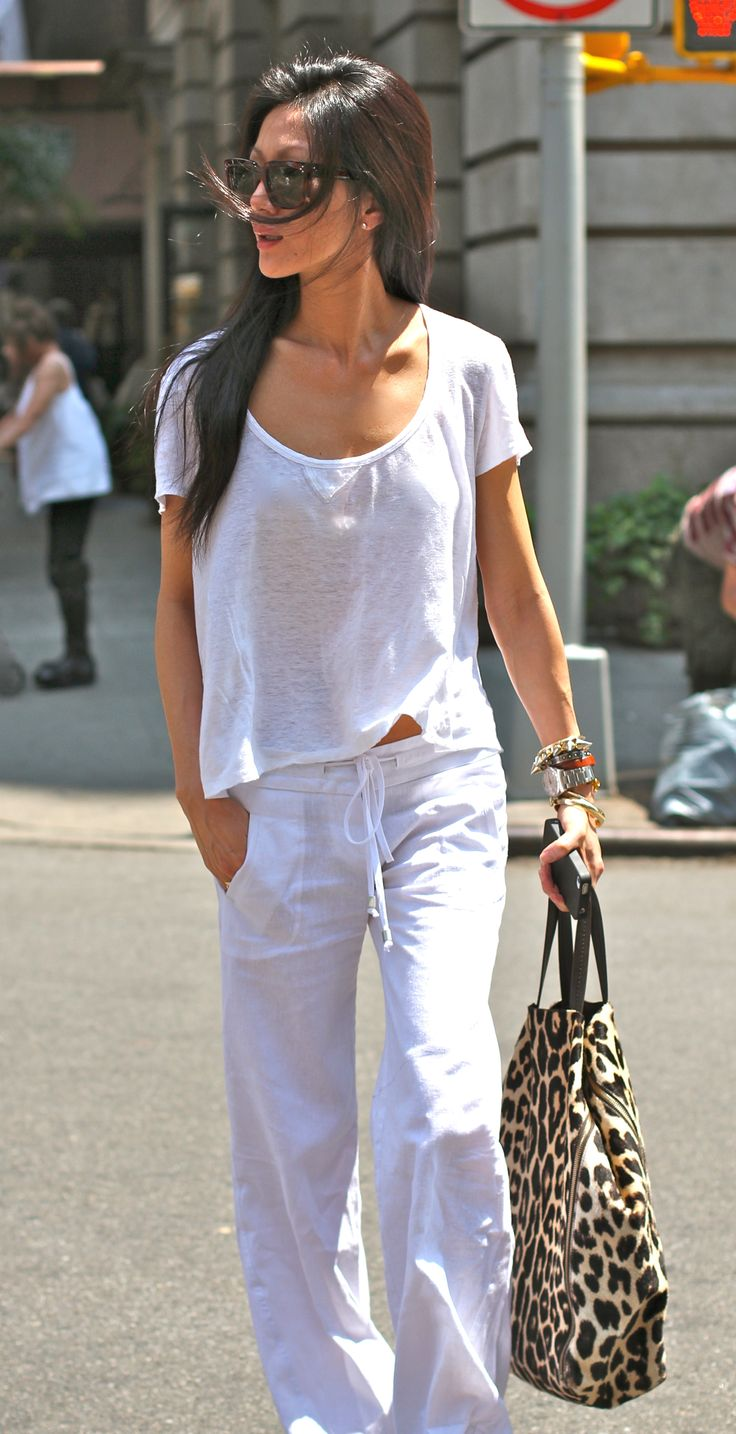 """finally feels like summer in nyc! :) linen white on white. simple + comfortable."" marissa webb"