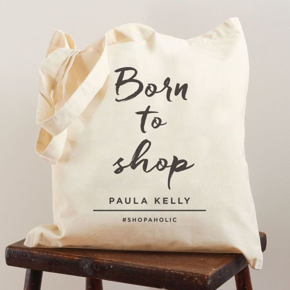 Personalised born to shop bag | hardtofind.
