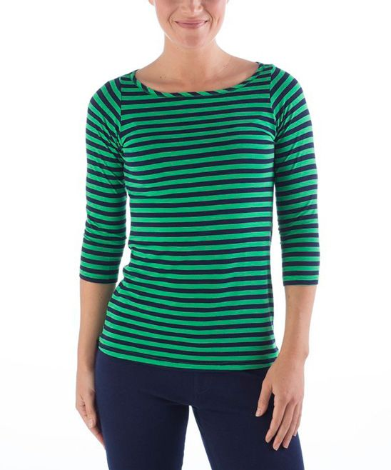 Yala Kelly Green & Navy Stripe Kai Boatneck Top - Women ...