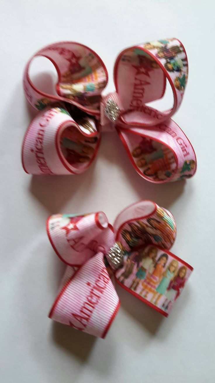 American Girl Doll & Me  Girls Pretty Pink  boutique hair bows with Sparkle Center Lea Grace Samantha Isabelle by Hamptonfoxx on Etsy