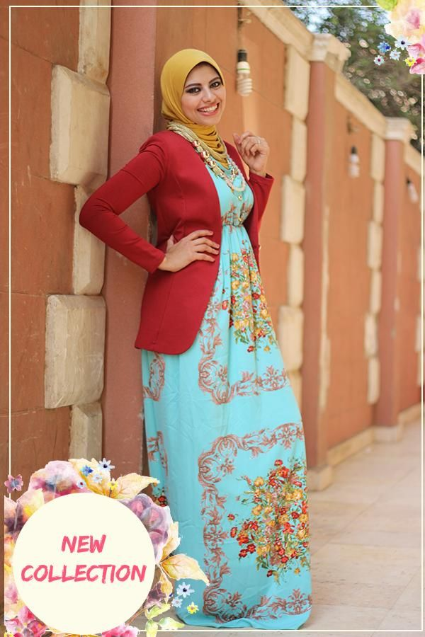 Maxi dress with jacket hijab style