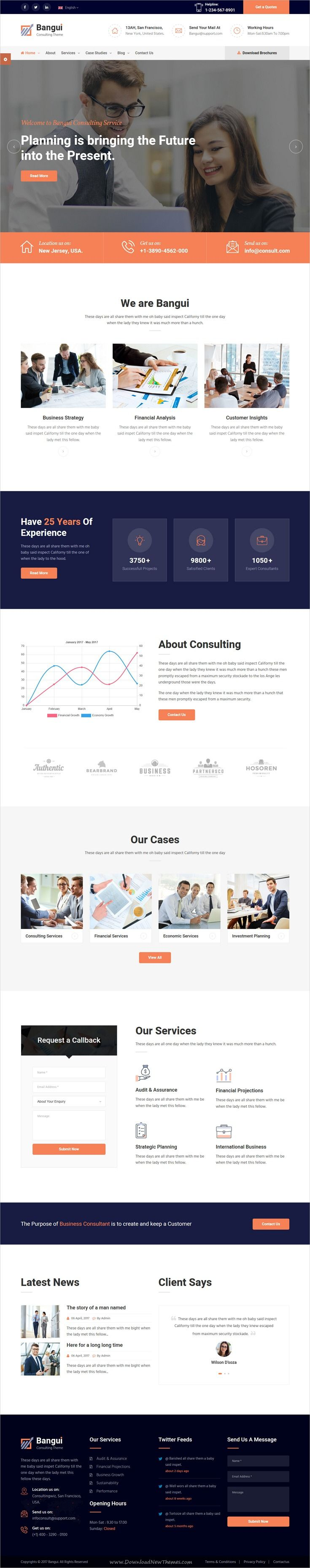 Bangui is clean and modern design 2in1 responsive #HTML template for business #consulting and #professional services website download now..