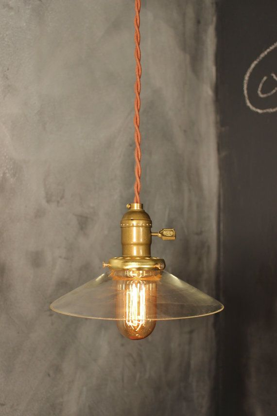 Vintage Pendant Light With Glass Shallow Cone Shade