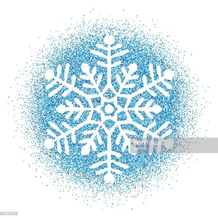 Snowflake Blue glitter vector Christmas Ornament on