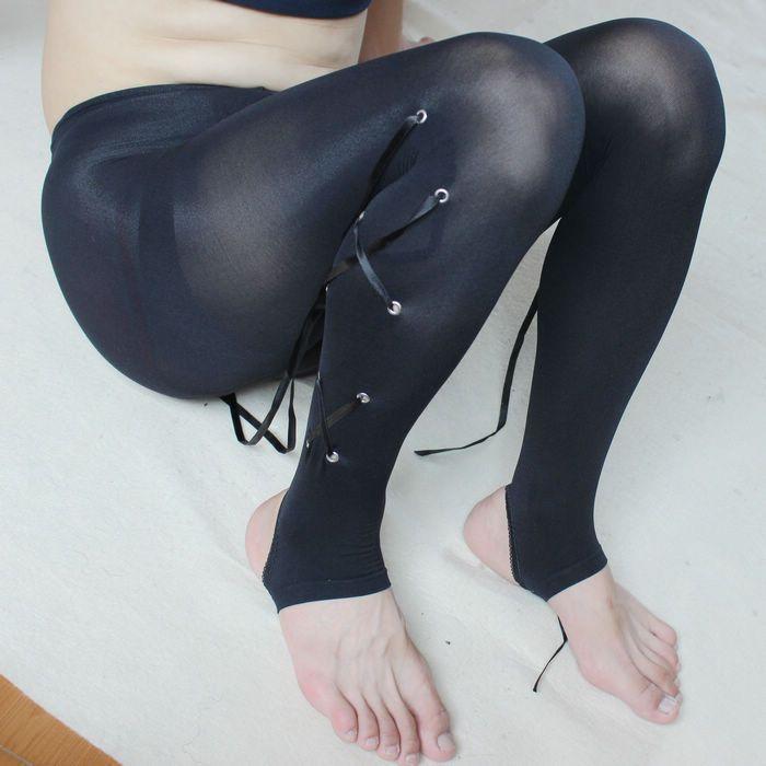 120D black men sexy foot bandage Tights Leggings men thickening