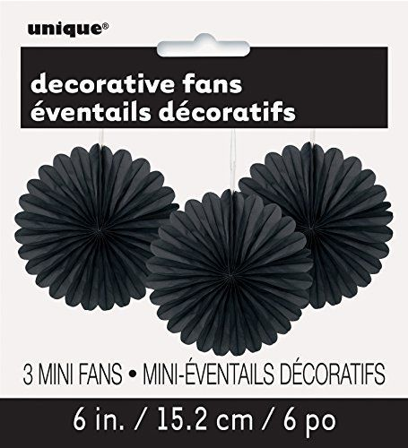 "6"" Mini Black Tissue Paper Fan Decorations, 3ct Unique"