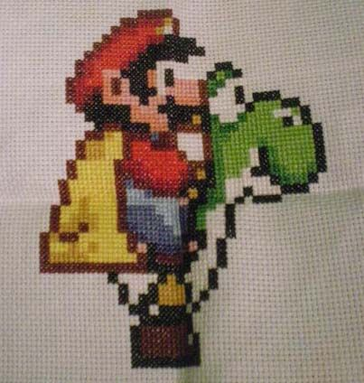Cross Stich Mario and Yoshi