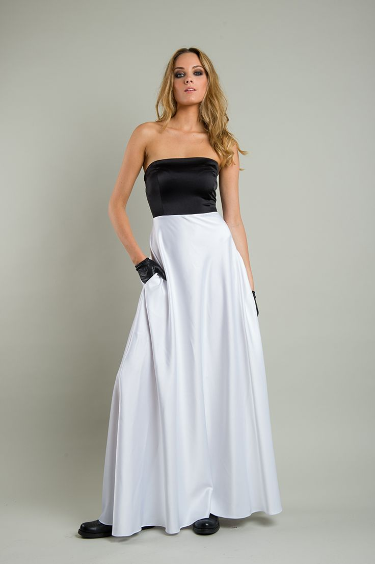 Women's white - black long strapless dress