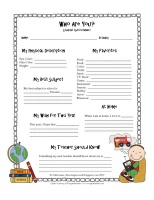 Student questionnaire for the first days of school...get to know your students a little better and then use for an end of the year gift to them!  From http://teachinginroom6.blogspot.com