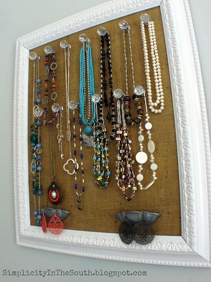 diy framed burlap jewelry holder. This project was made with things that you may already have on hand...an old frame, burlap, spray paint, bin pulls, knobs and Mod Podge. I did have to buy the crystal knobs, but I found them super cheap on Ebay. Pretty and functional!
