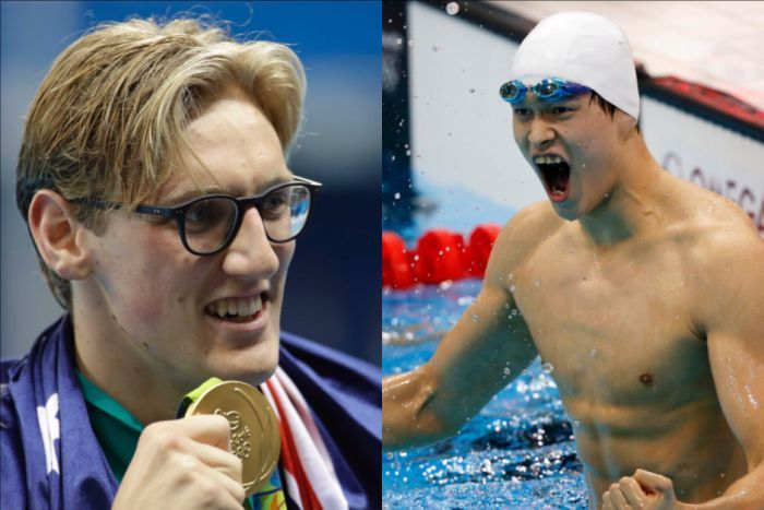 Composite image Mack Horton and Sun Yang, Rio Olympics 2016 swimmers