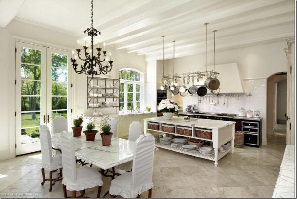 My husband would never go for this kitchen - especially not the white chairs with ruffles! But, I LOVE.