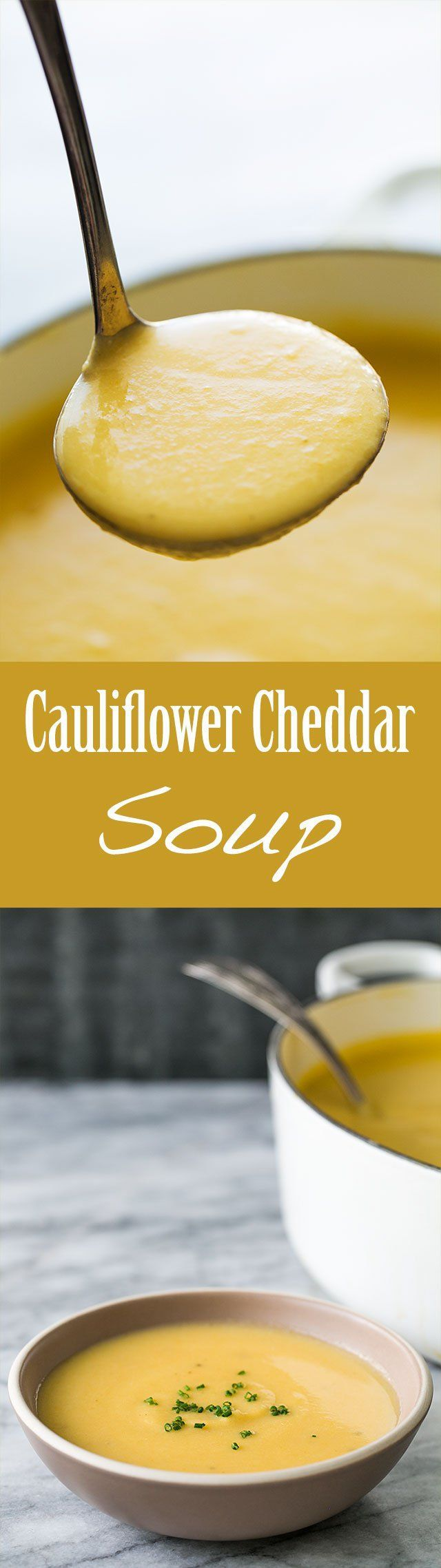 Best soup ever on a chilly day! Delicious, smooth, creamy cauliflower soup with sharp cheddar cheese. This soup will have your guests coming back for seconds! On SimplyRecipes.com
