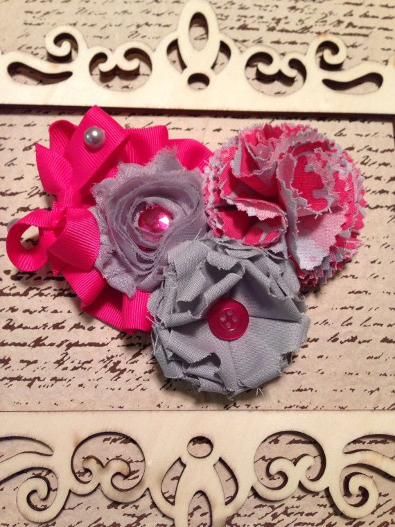 Hot pink and gray shabby chic triple flower by DonnaBellaBows, $17.95