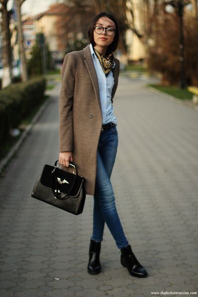 Laid back cool black ankle boots, knee length brown coat, shirt and yellow cravat