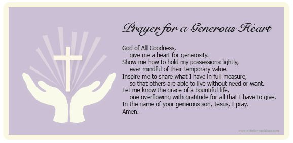 "Download a ""Prayer for a Generous Heart"" and use it with ..."