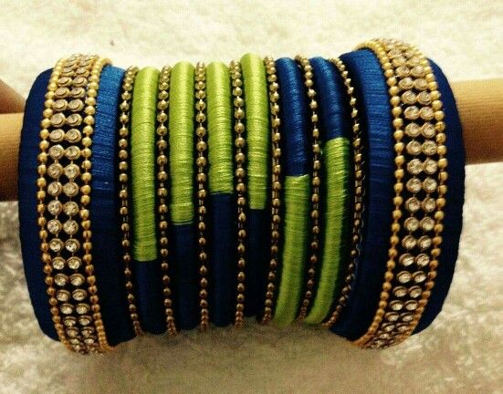 Silk thread bangles. A modern twist to the traditional bangle set