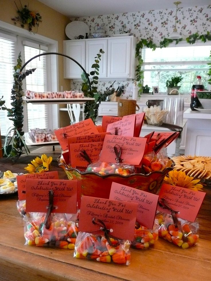 Table decorations for fall bridal shower