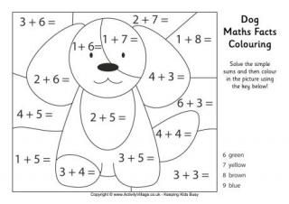 Dog Maths Facts Coloring Page and lots of other animals