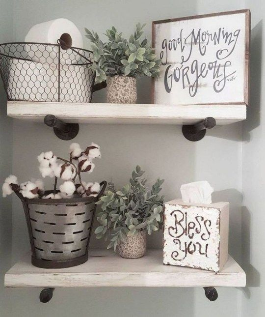 Modern Rustic Farmhouse Style Master Bathroom Ideas 47