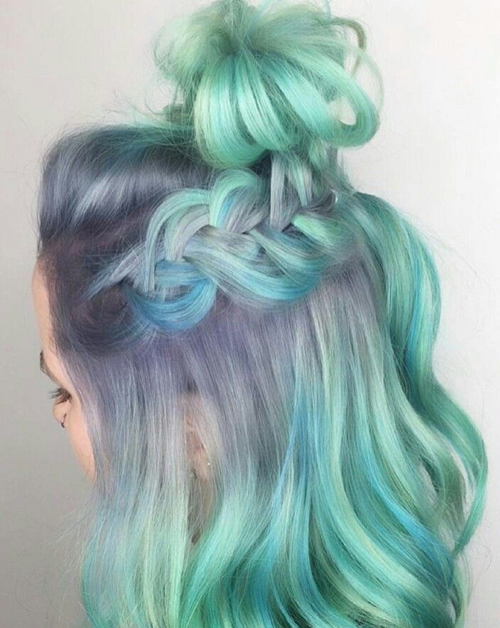 Green pastel purple braided dyed hair color idea inspiration