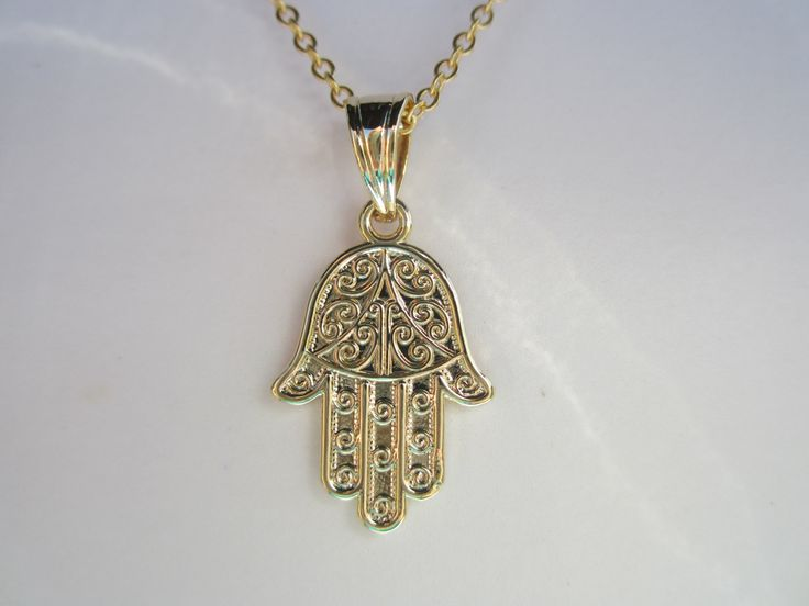 Yoga Hamsa Gold necklace/ Birthday/ Love/ Bridal/ holiday/ Gift under 50 dollars by anandacollections on Etsy