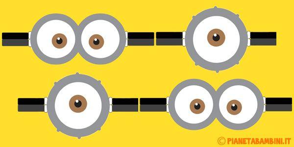 Occhiali dei Minions da Stampare e Ritagliare per Decorazioni