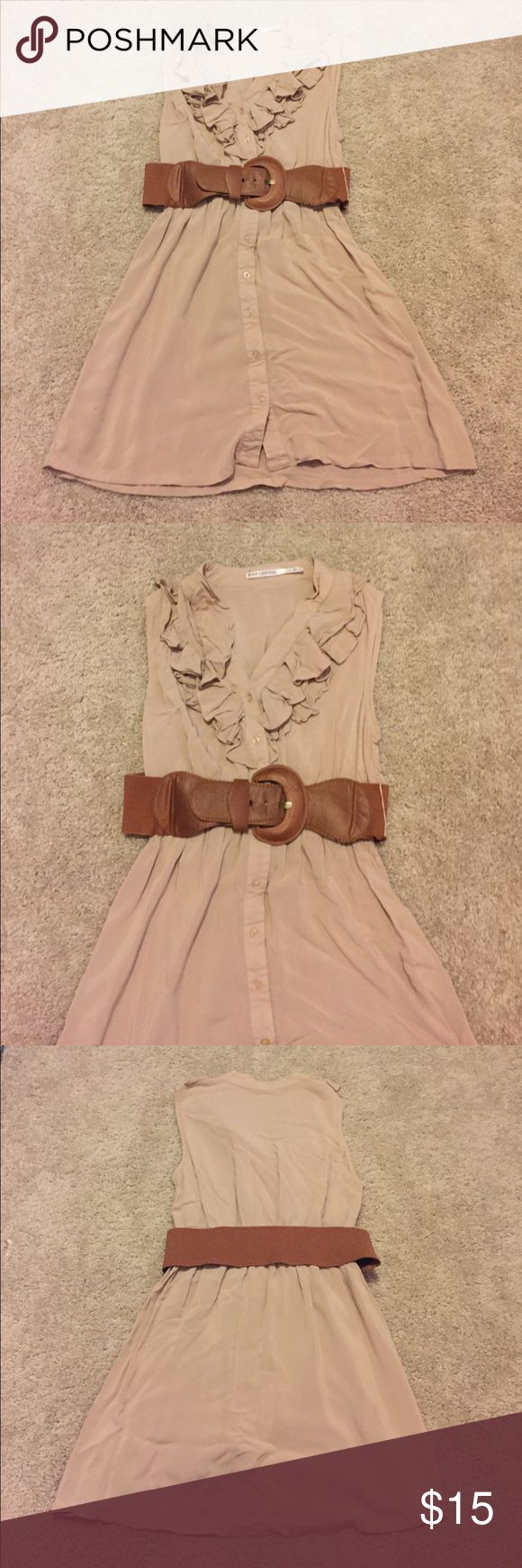 Tan summer dress super cute light summer or fall dress , can be worn with our without belt. 100% rayon Body Central Dresses
