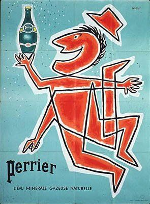 Les Arts Décoratifs - Site officiel - Perrier - Affiche Perrier, 1955……reépinglé par Maurie Daboux….ღ. ¸.•*¨