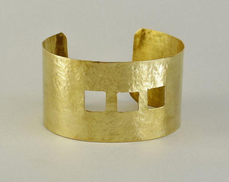 Wide cuff bracelet, gold tone bangle, Brass hammered jewelry, Arm cuff Hand, Minimal Modern Jewelry, contemporary bangle, tribal bracelet by ColorLatinoJewelry on Etsy