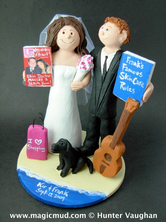 Guitar Player's Wedding Cake Topper    Wedding Cake Topper for an Acoustic Guitar Player, custom created for you! Perfect for the marriage of a Guitar Playing Groom and his Bride!    $235   #magicmud   1 800 231 9814   www.magicmud.com