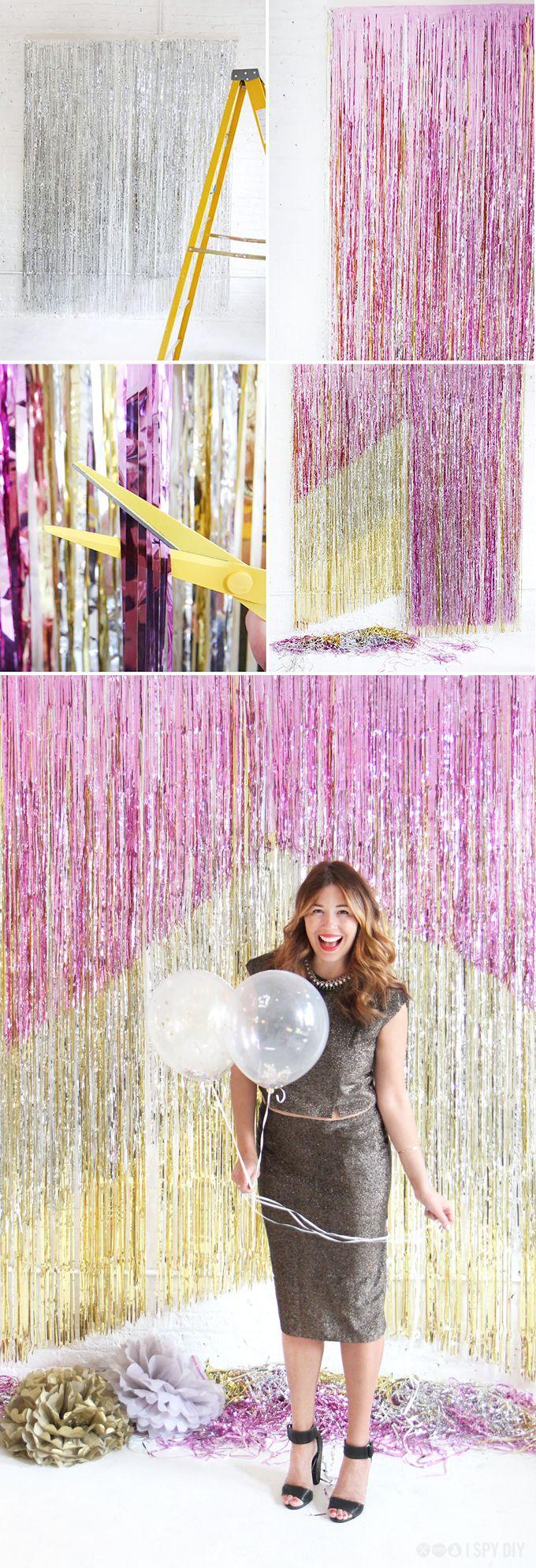 Glamour pur! DIY Hintergrund für Fotos, Glitzerwand für die Party >> The perfect photobooth backdrop for New Year's Eve!
