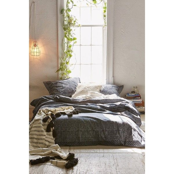 Magical Thinking Bandhani Duvet Cover ($79) ❤ liked on Polyvore featuring home, bed & bath, bedding, duvet covers, dark grey, king duvet insert, twin xl duvet insert, extra long twin bedding, king size bedding and cotton bedding