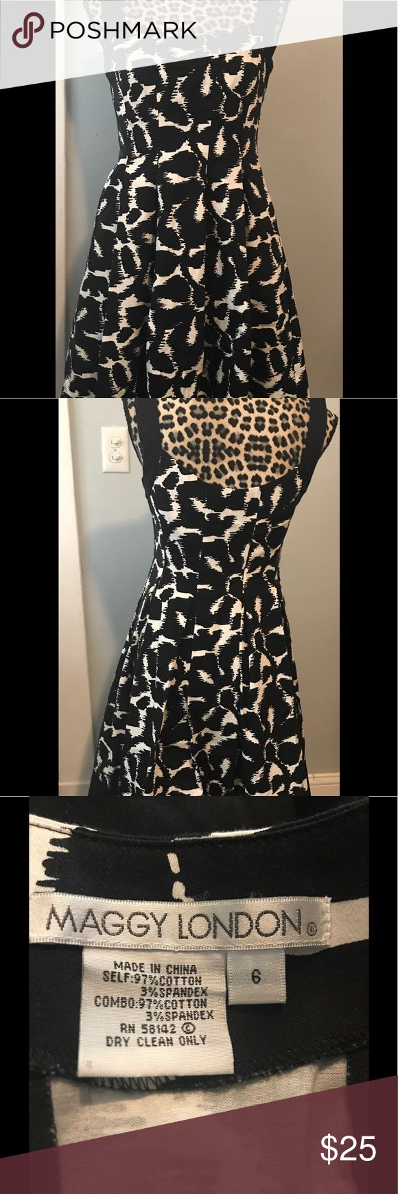"Maggie London size 6 black & white floral dress Beautiful abstract floral pattern, black and white dress. It is perfect for a party or evening out. Hidden side zipper and clasp for securing the dress. Has cute pleats in the bottom which gives it a nice swirl when you turn. There is a small pull in the material, see last 2 photos. One close up and one from a slight distance. About 17.5"" wide (laid flat) across the bust, about 15"" wide across the waist, and about 30.5"" long ( from the center…"
