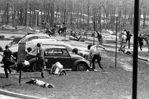 On May 4, 1970, National Guardsmen killed four students at Kent State University in Ohio during a demonstration against the Vietnam War.