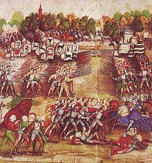Bataille de Marignan , peinture du 16°s attribuée au Maître de la Ratière -  Louis II de la Trémoille se distingua à Marignan (1515) au côté de François I°, mais il y perdit son fils unique. Le 24 février 1525, François 1° lança la bataille désastreuse de Pavie contre l'avis de ses vieux conseillers, dont Louis II.