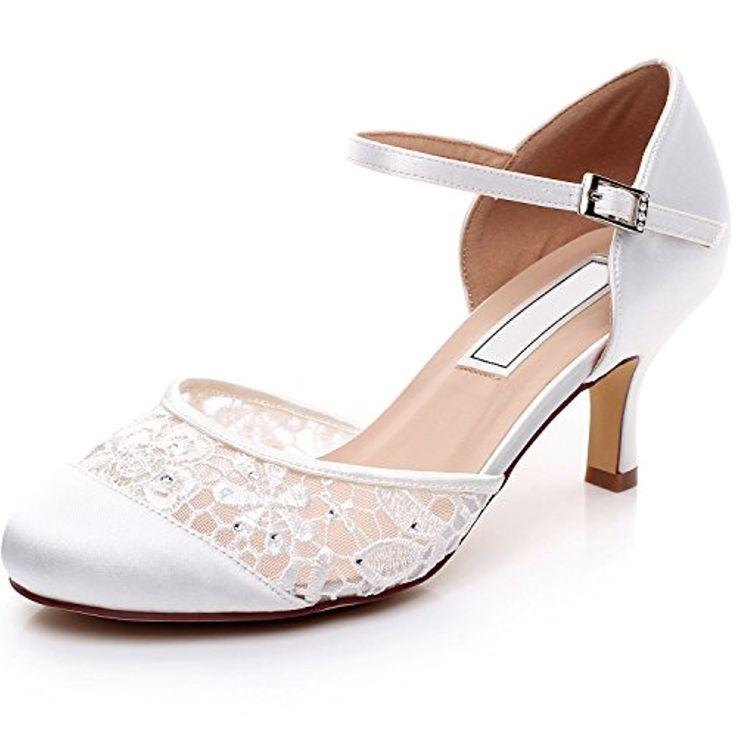 YOOZIRI Escarpins Femme Bride cheville Boucle Bout rond Mary Janes Satin Chaussures Pompes a Talon de Mariee Mariage – Heels 6cm 2018