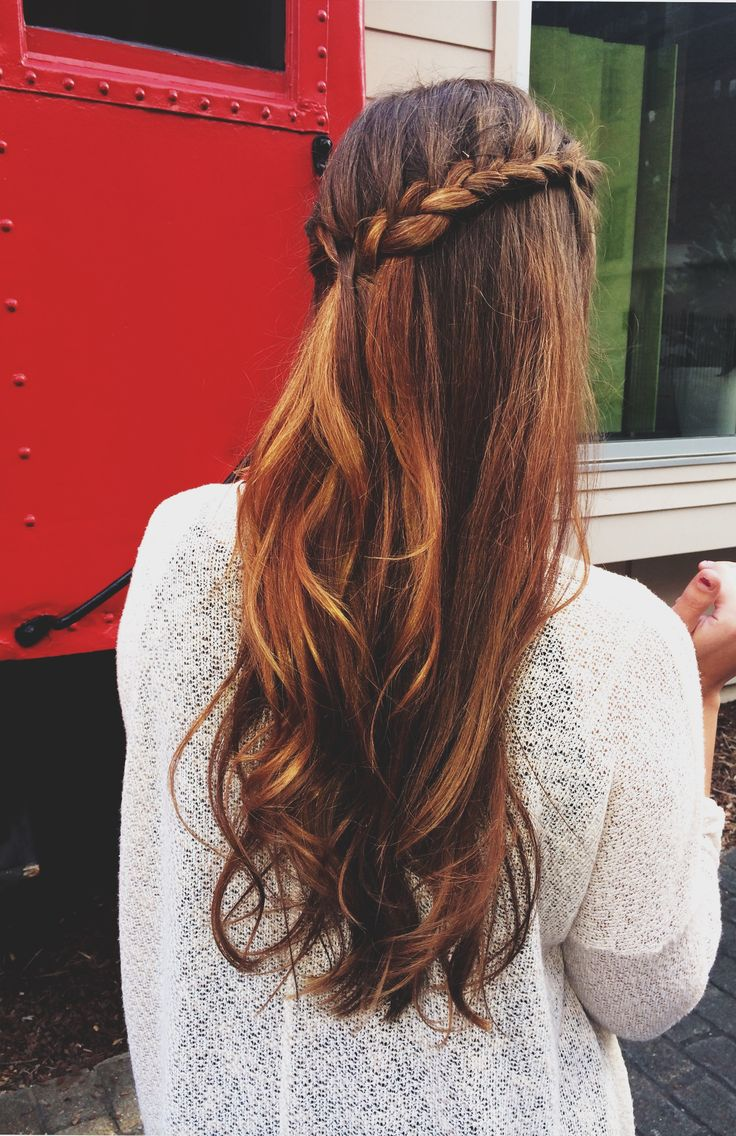 french braid, half up half down, curly, wavy, ombre hair ...