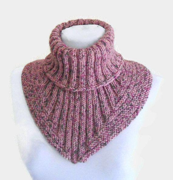 Artículos similares a Hombres, bufanda de las mujeres, chimenea, calentador, punto cuello, suave, mano knit, unisex, rosa de Tweed en Etsy