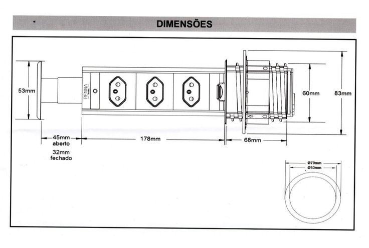 Torre De Tomadas Multiplug - medidas