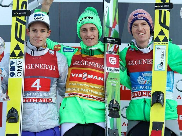 World Cup in Garmisch-Partenkirchen, Germany: 1. Peter Prevc (SLO) 2. Kenneth Gangnes (NOR) 3. Severin Freund (GER)